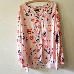 Northcrest Light Pink Floral Long Sleeve Blouse